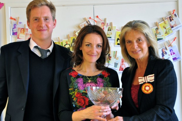 Sam Conniff and Michelle Clothier from Livity received their crystal bowl from Rosi Prescott, Deputy Lieutenant for Greater London (credit: Devon Wright)