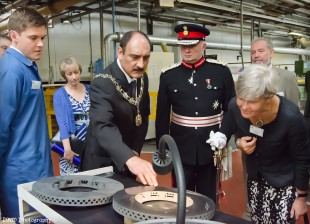 Lord Lieutenant and Mayor on the factory tour (credit: DRW Photography)