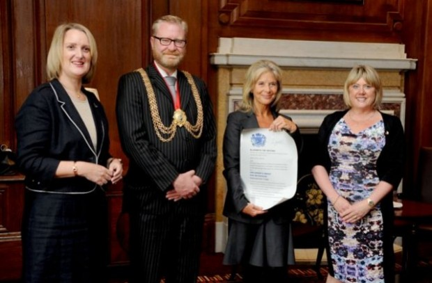 L-R –Rachel Carnac, Councillor Mark Bennett - Mayor of Lambeth, Rosi Prescott - Deputy Lord Lieutenant and Jill Fitzgibbon