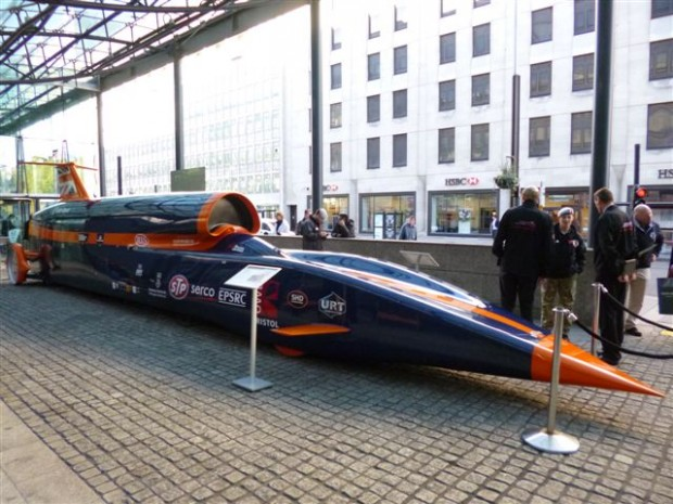 A mock-up of the Bloodhound supersonic car parked outside BIS offices.