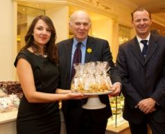 Vince Cable with Rekha Mehr and Lawrence Tomlinson