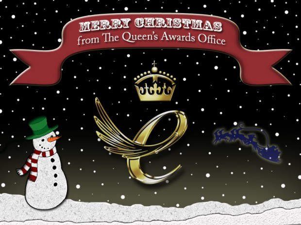 Christmas card saying 'Merry Christmas from the Queen's Awards Office'.