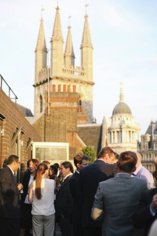 Reception on the roof of TestPlant's offices overlooking St Pauls Cathedral