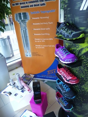 Running shoes display