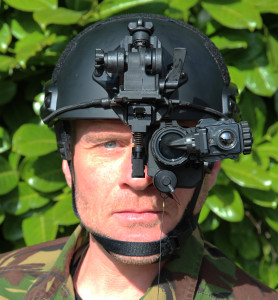 Soldier wearing nightvision goggles.