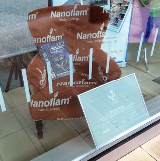 A Nanoflam Chair in a window display