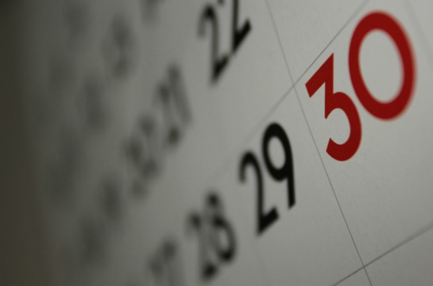 Calendar showing the 30th of the month.