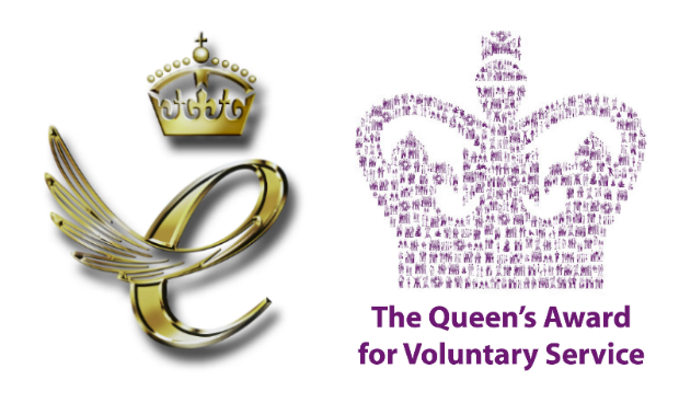 Logos of The Queen's Award for Enterprise Promotion and The Queen's Award for Voluntary Service