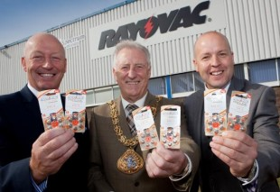 Colin Bryson-Pyke, Mayor Stuart Porthouse and Glen Rutherford hold up hearing aid batteries.