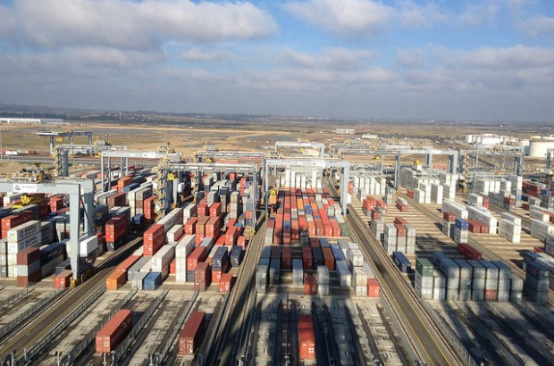 Rows of shipping containers at London Gateway Port.