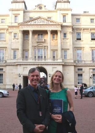 Sean Kelly and Juliet Bernays in front of Buckingham Palace