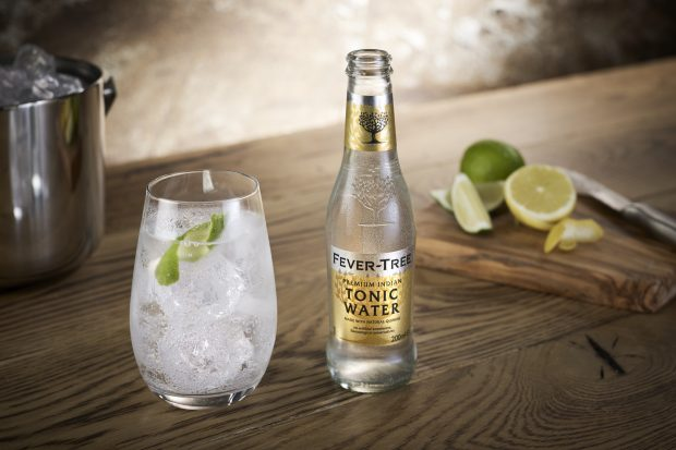 A bottle of Fever-Tree tonic water.