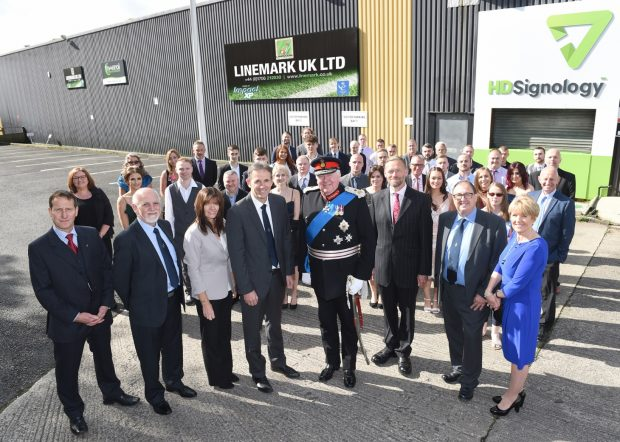 The Linemark team with the Lord Lieutenant of Lancashire.