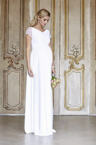 Designer maternity wedding dress.