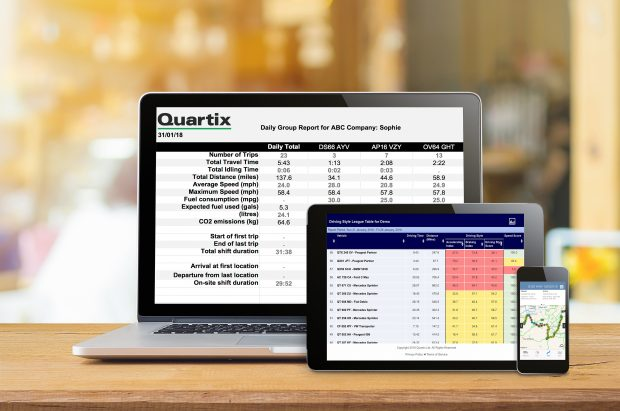 Laptop, tablet and smartphone showing Quartix data.