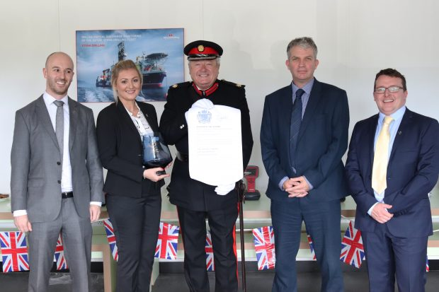 The HVPD team receiving their Queen's Award from Vice Lord Lieutenant Paul Griffiths